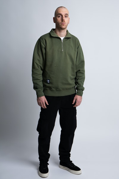 Placeholder for Calico Club Spencer Halfzip Sweater CA 10 OLIV 1